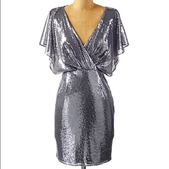 silver sequin cocktail dress by Jessica Simpson
